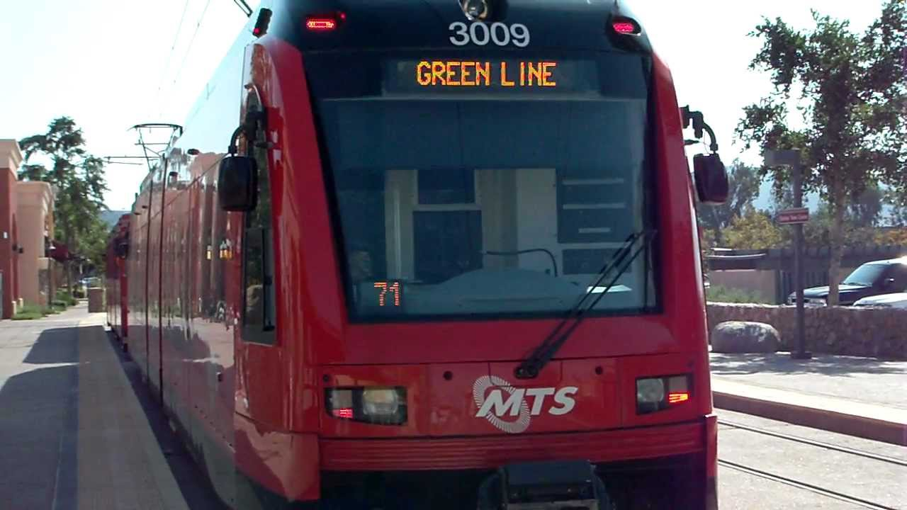 green line san diego trolley leaving santee town center youtube. Black Bedroom Furniture Sets. Home Design Ideas