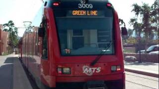 Green Line San Diego Trolley Leaving Santee Town Center