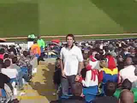 Southgate sings the Freddie song at Headingley, July 2008