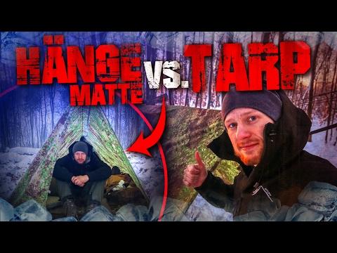 Survival Bushcraft im Winter - Hängematte vs. Tarp - Camp Lagerbau deutsch Deutschland