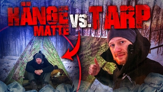 Survival Bushcraft im Winter - Hängematte vs. Tarp - Camp Lagerbau deutsch Deutschland