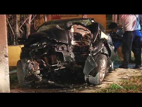 fatal car vs pole crash body entrapped in wreckage youtube