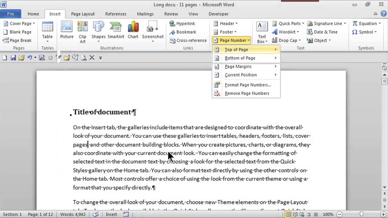 How To Add Page Numbers In The Top Right Corner MS Word