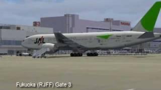 FS2004 Japan Airlines B777-200 Fukuoka(福岡空港)  to Tokyo haneda(羽田空港)