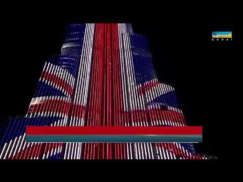 أخبار الإمارات - برج خليفة يكتسي بألوان علم بريطانيا ...