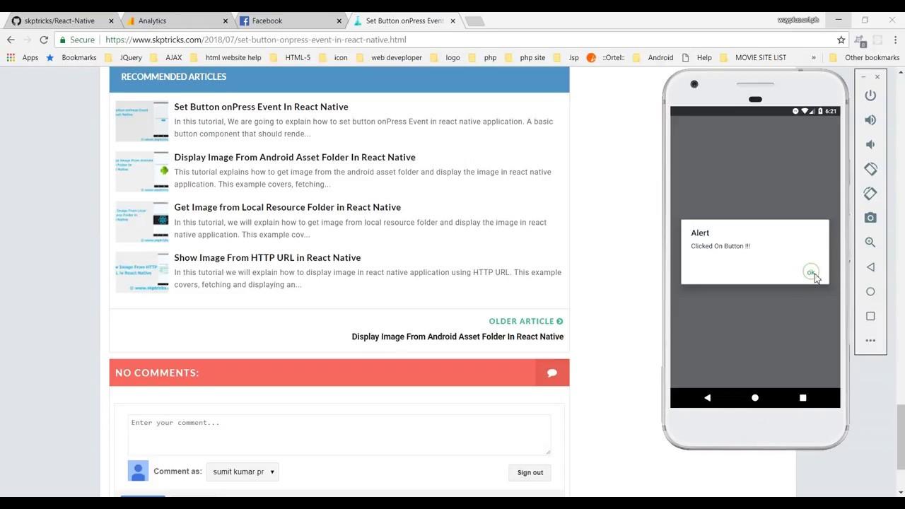 Set Button onPress Event In React Native | SKPTRICKS