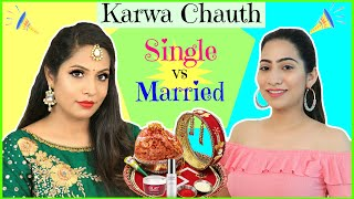 Karwa Chauth SINGLE vs MARRIED | #Beauty #SkinCare #Sketch #Fun #Anaysa #ShrutiArjunAnand