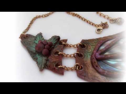 Collana Luna di Cleopatra in pasta polimerica madreperla polymer clay necklace jewellery