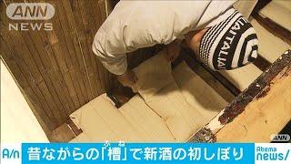 新酒の初しぼり 昔ながらの手法でじっくりと(20/01/18)