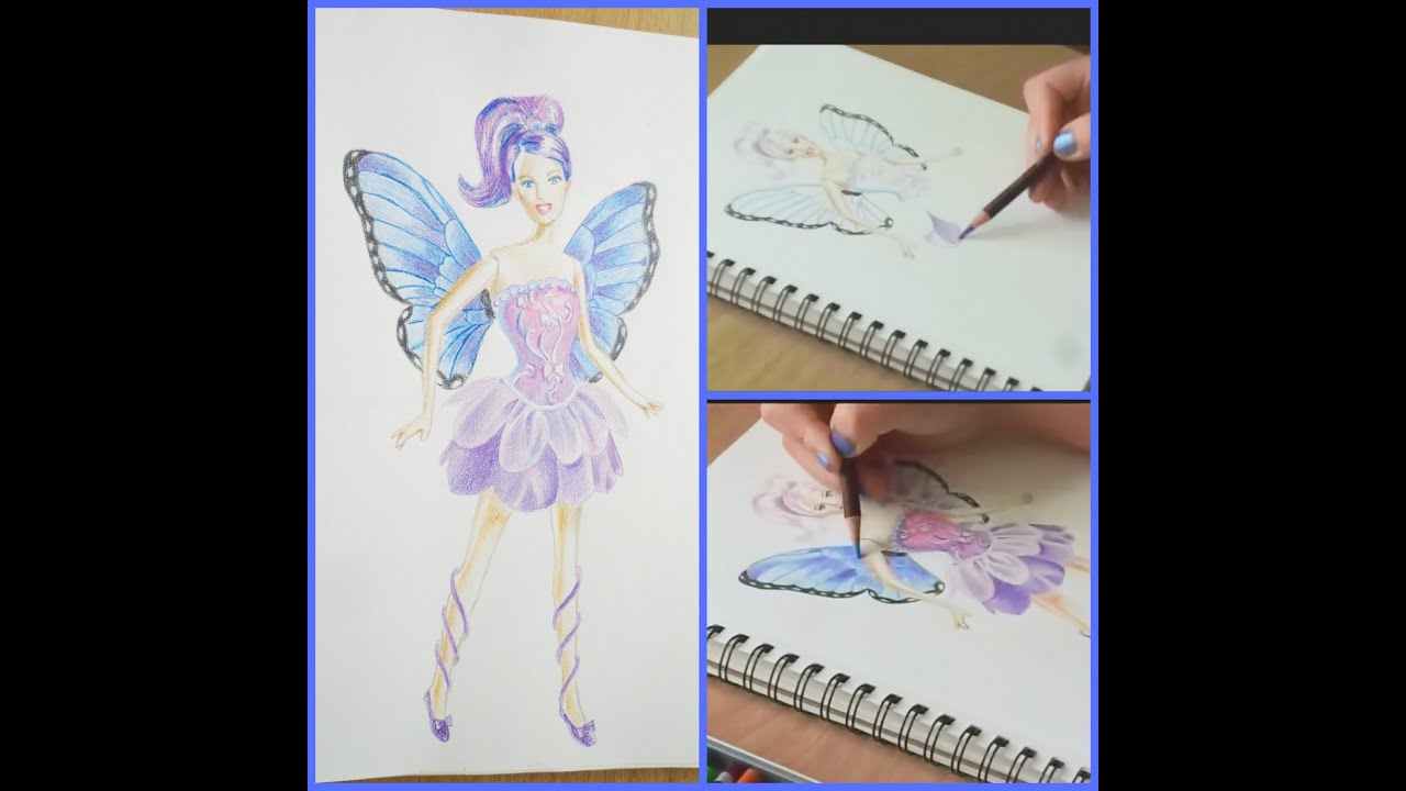 speed drawing of a fairy princess barbie doll youtube