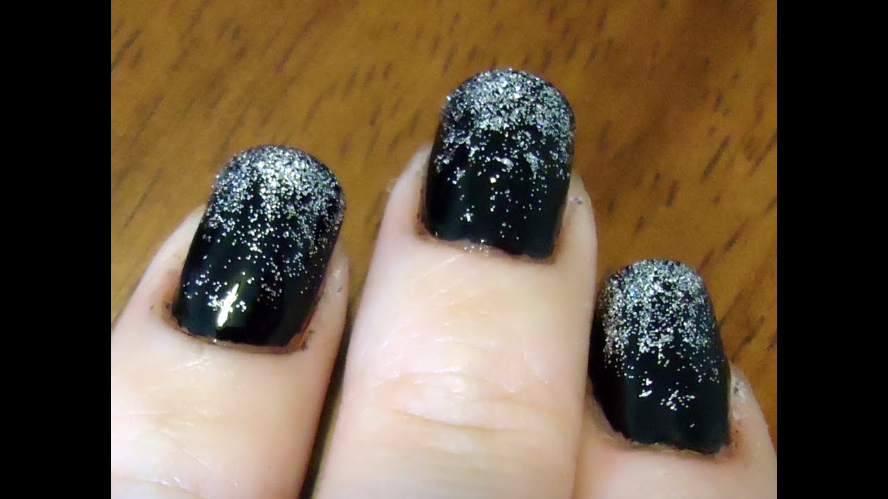 black and silver gradient glitter nail tutorial - youtube