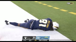 Mike Williams Knocked Out After Scary Hit | Chargers vs Raiders Week 9