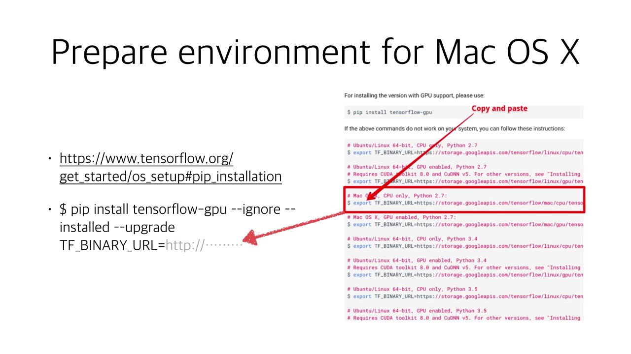 Brief guide for tensorflow for Mac (GPU)