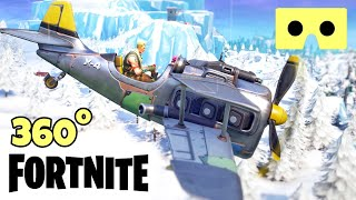 [360° video VR] Fortnite Virtual Reality Google Cardboard Plane Season 7 Xmas flight
