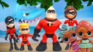 The Incredibles 2 Beach Day! LOL Surprise Dolls Precious and Treasure get Eaten by a Shark!
