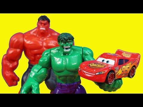 Hulk Smash Brothers Rescue Disney Pixar Cars Lightning McQueen From Imaginext Ninjas Mater