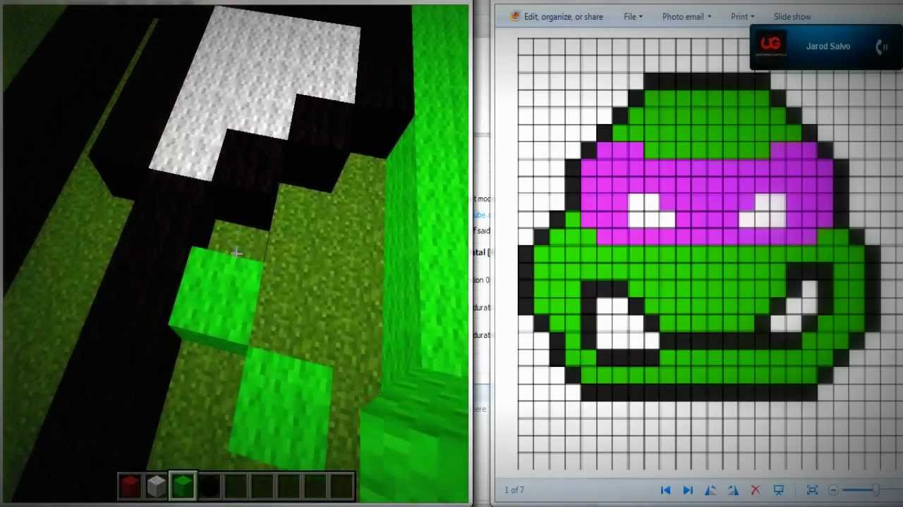 Lovely Ninja Turtle Minecraft Pixel Art   YouTube