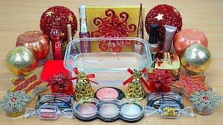 RED GOLD SLIME Mixing makeup and glitter into Clear Slime Satisfying Slime Videos