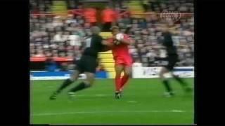 All Blacks vs Tonga Rugby World Cup - Jonah Lomu MASSIVE HIT