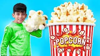 Jason makes world biggest popcorn for movie