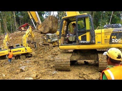 TRANS PAPUA Extreme Road Construction Work By Excavator And Dozer Bofuer - Wendesi Manokwari
