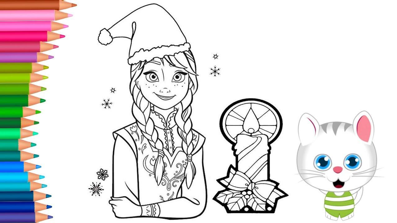 Dibujar Y Colorea Princesa Anna Con Gorro De Navidad Dibujos Para Niños Con Mimi Aprender Colores