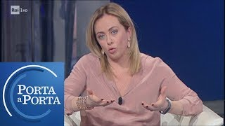 """Giorgia Meloni: """"Alleati con Salvini in un nuovo centrodestra"""" - Porta a porta 30/01/2019"""