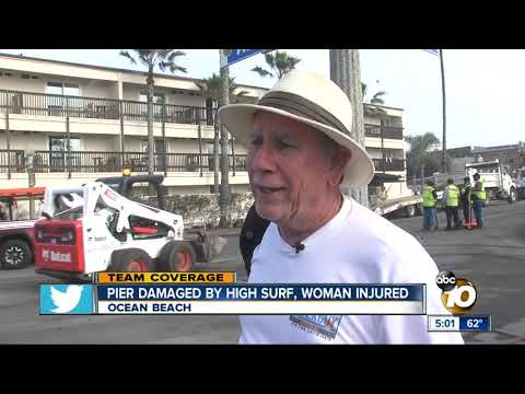 Ocean Beach Pier damaged by high surf, woman injured