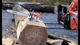 #939 Beautiful, Massive Red Oak, Too BIG and Heavy For Mill? Stihl 500i to the Rescue