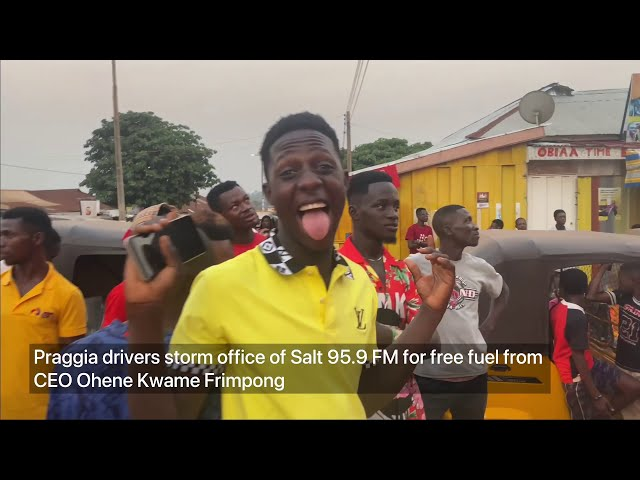 Praggia drivers storm office of Salt 95.9 FM for free fuel from CEO, Ohene Kwame Frimpong