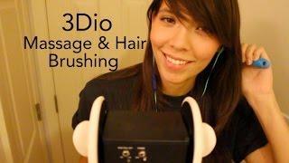 asmr 3dio ear massage hair brushing