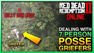 HOW TO HANDLE FULL POSSE GRIEFERS in Red Dead Redemption 2 Online! STOP RDR2 Online Griefers RDR2!