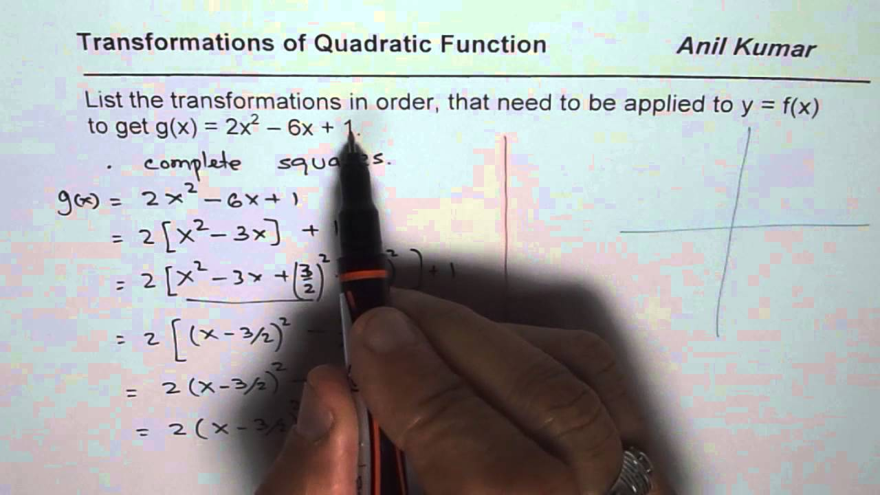Write Transformation For Quadratic Equation In Standard Form Youtube
