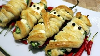 Jalapeno popper Mummy recipe for your Halloween party food.