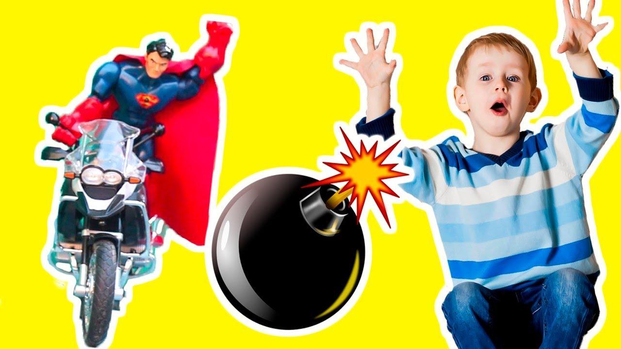 ХАЛК против Железного Человека СУПЕРГЕРОИ взрывают БОМБУ Видео для детей. Игрушки для мальчиков.