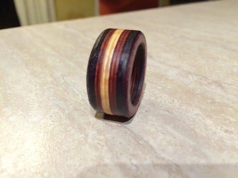 Make a wooden ring using exotic hardwood veneers