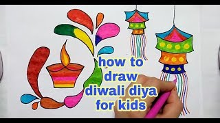 How to draw diwali diya for kids