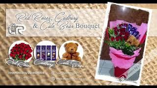 Roses, Cadbury and Cute Couple Bear Bouquet