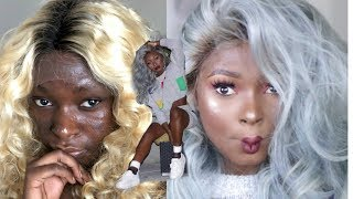 How To: Transform Your Blonde Lace Wig | Gray Hair On Dark Skin