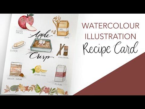 Watercolour Recipe Card – Apple Crisp!