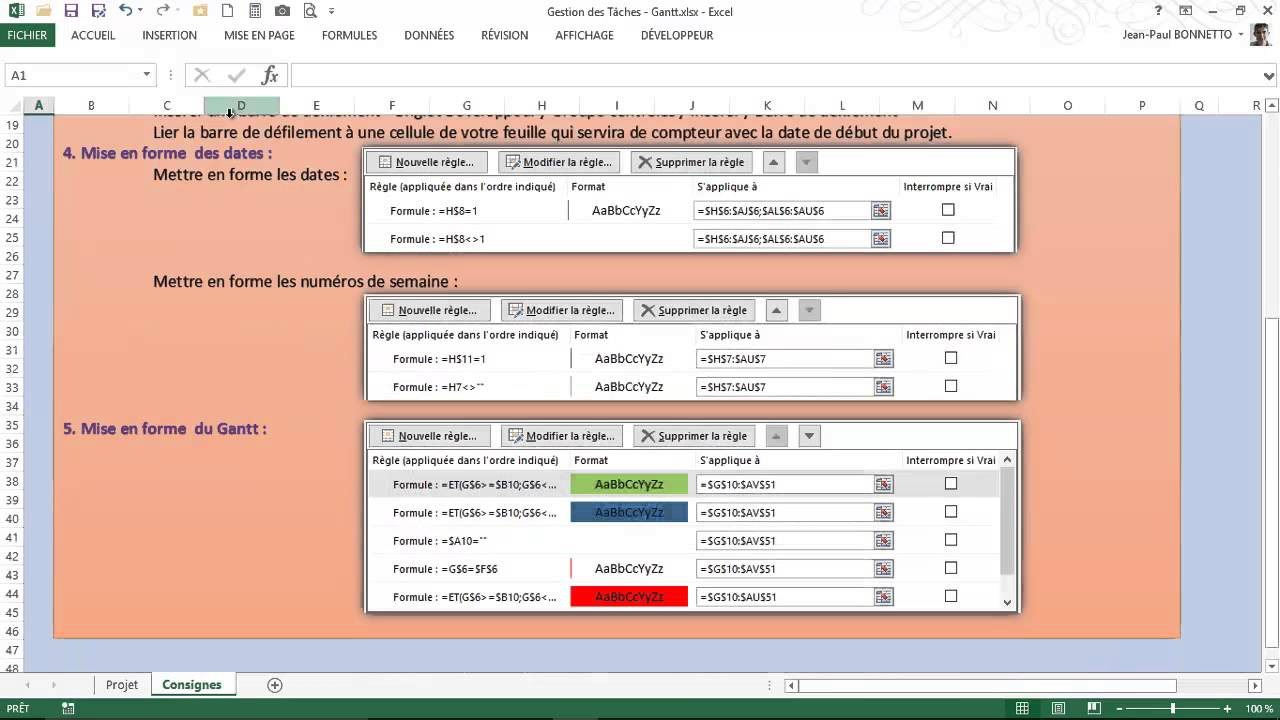 Excel grer vos projets avec un diagramme gantt youtube ccuart Images