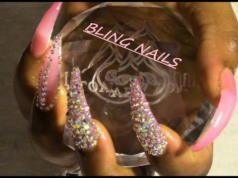 Go 💎BLING💎 Or Go Home | Pink Tint| Long Stiletto| Bling Nails!!!