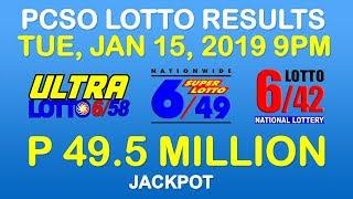 Lotto Result January 15 2019 9pm PCSO (6/58, 6/49, 6/42, 6-digit, ez2, suertres, stl)
