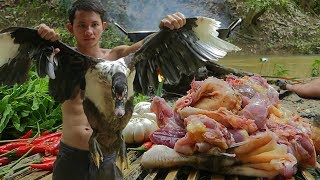 Yummy Spicy Fried Duck Recipe   Cooking Wild Duck And Eating Delicious In The Forest
