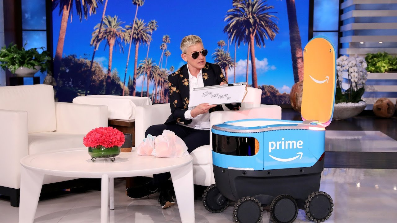 Amazon's New Delivery Robot 'Scout' Brings Ellen Her New Be Kind Box  Products! - YouTube