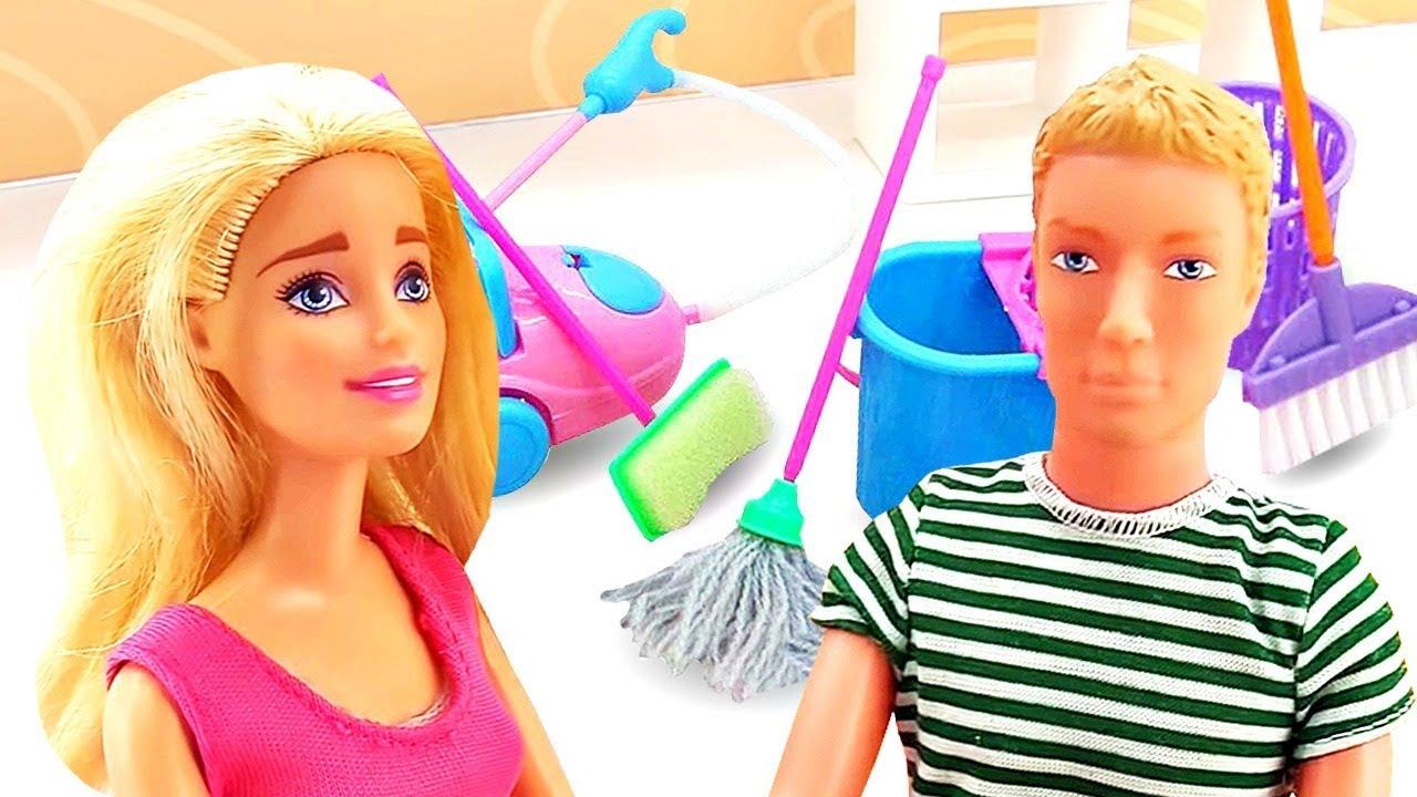 Барби лучшие серии: уборка дома. Видео для девочек - YouTube