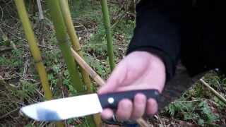 Тесты ножа Амба Ясный сокол рез и рубка Бамбука сталь D2