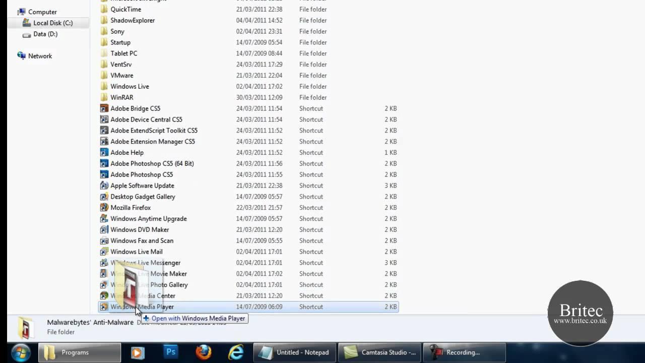 windows 7 folder start menu
