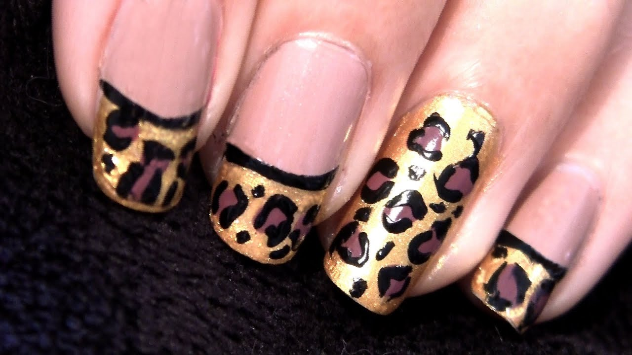 Leopard Print Nails! Leopard French Tip Nails Tutorial - YouTube