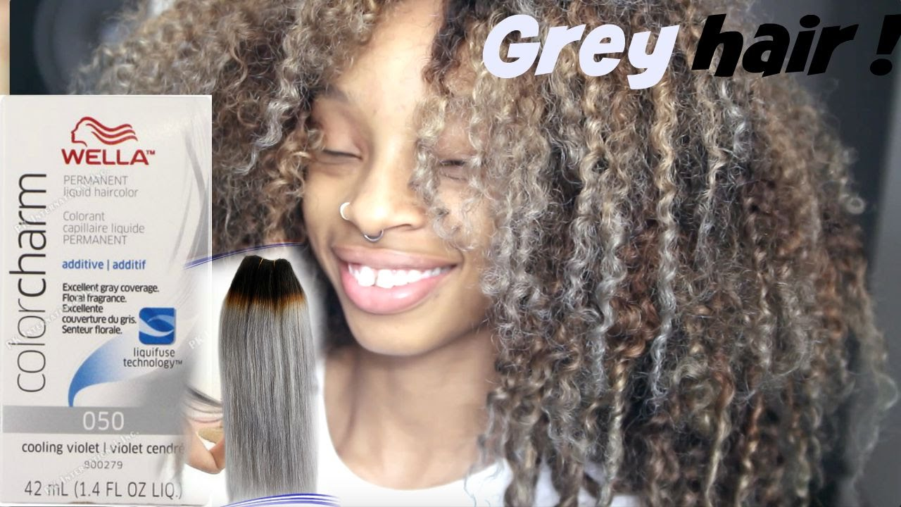 How To dye curly hair blonde/ash grey !♡ - YouTube